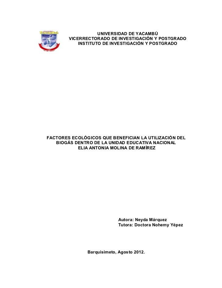UNIVERSIDAD DE YACAMBÚ        VICERRECTORADO DE INVESTIGACIÓN Y POSTGRADO            INSTITUTO DE INVESTIGACIÓN Y POSTGRAD...