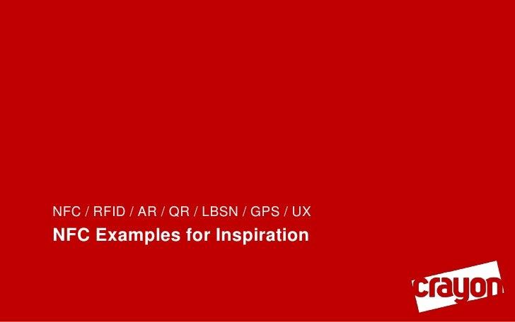 NFC / RFID / AR / QR / LBSN / GPS / UXNFC Examples for Inspiration
