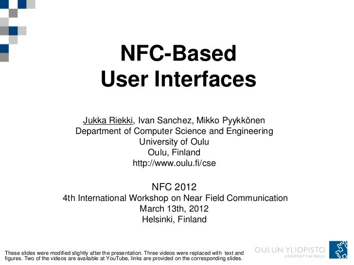NFC-Based                                       User Interfaces                              Jukka Riekki, Ivan Sanchez, M...