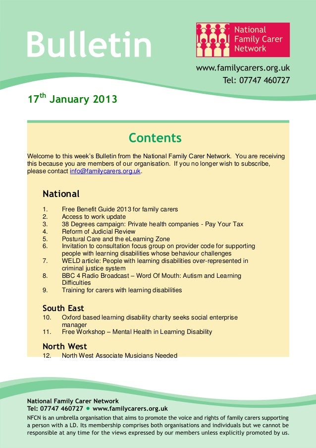 17th January 2013Welcome to this week's Bulletin from the National Family Carer Network. You are receivingthis because you...