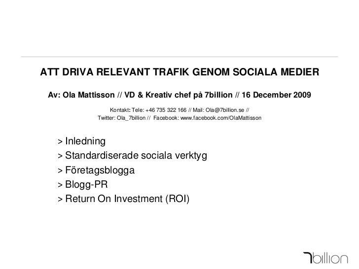 Att driva relevant trafik genom sociala medier V.2