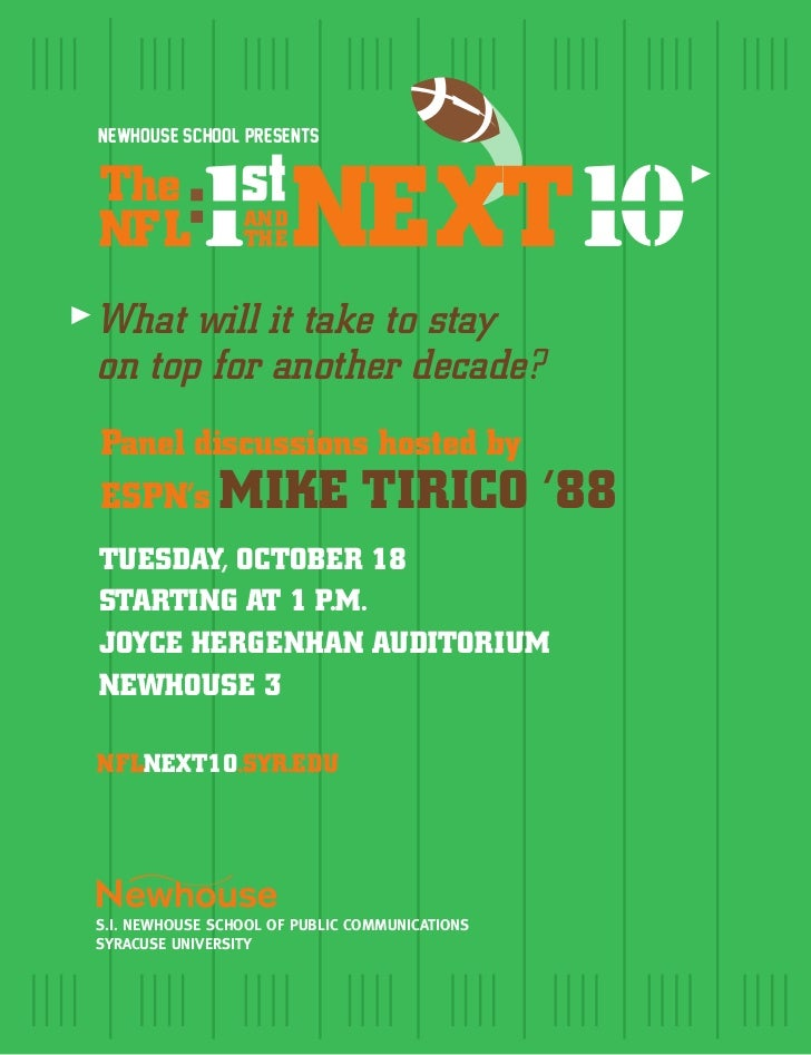 Newhouse School presentsTheNFL        1 NEXT10                  :                 AN D                 TH EWhat will it ta...