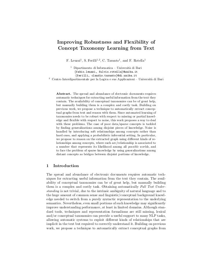 Improving Robustness and Flexibility of           Concept Taxonomy Learning from Text                  F. Leuzzi1 , S. Fer...