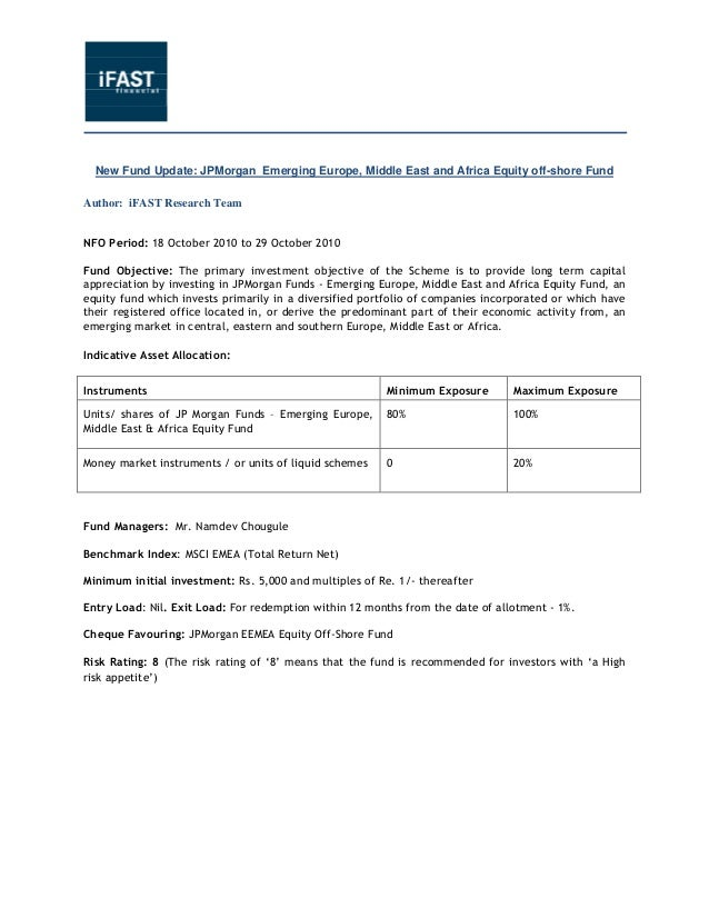 NFO Update - JPMorgan Emerging Europe, Middle East And Africa Equity Off-Shore Fund