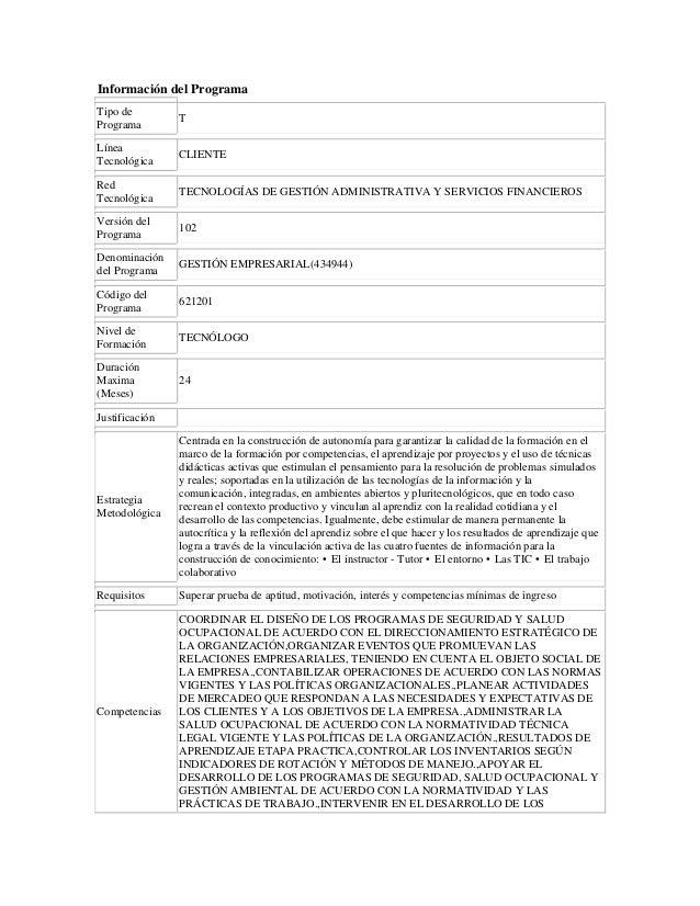 Información del Programa Tipo de Programa T Línea Tecnológica CLIENTE Red Tecnológica TECNOLOGÍAS DE GESTIÓN ADMINISTRATIV...