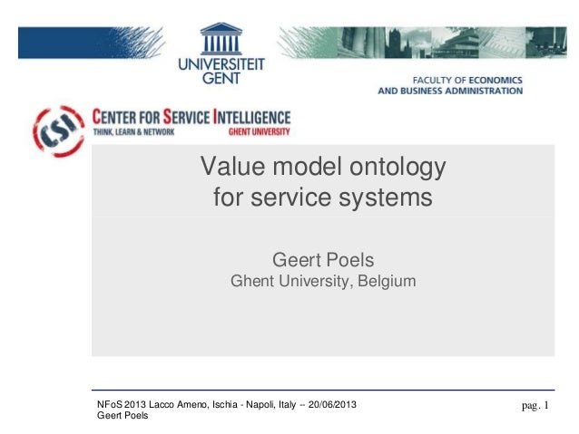 Value model ontologyfor service systemsGeert PoelsGhent University, Belgiumpag. 1NFoS 2013 Lacco Ameno, Ischia - Napoli, I...
