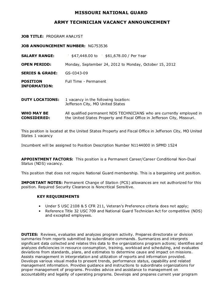 MISSOURI NATIONAL GUARD                  ARMY TECHNICIAN VACANCY ANNOUNCEMENTJOB TITLE: PROGRAM ANALYSTJOB ANNOUNCEMENT NU...