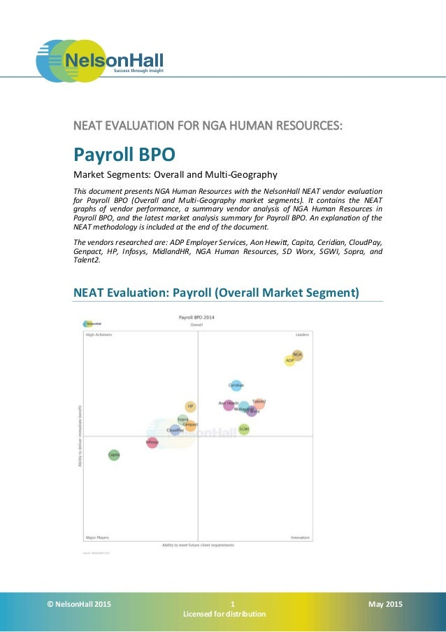 © NelsonHall 2015 1 May 2015 Licensed for distribution NEAT EVALUATION FOR NGA HUMAN RESOURCES: Payroll BPO Market Segment...