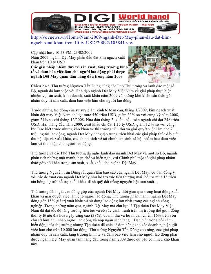 http://vovnews.vn/Home/Nam-2009-nganh-Det-May-phan-dau-dat-kim- ngach-xuat-khau-tren-10-ty-USD/20092/105841.vov  Cập nhật ...