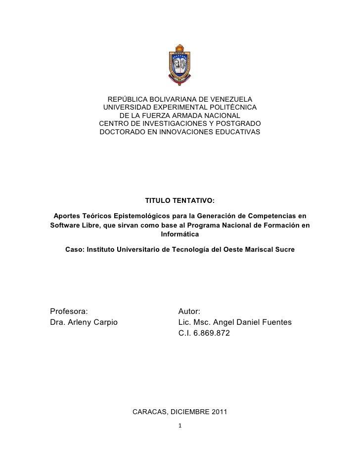 REPÚBLICA BOLIVARIANA DE VENEZUELA               UNIVERSIDAD EXPERIMENTAL POLITÉCNICA                   DE LA FUERZA ARMAD...