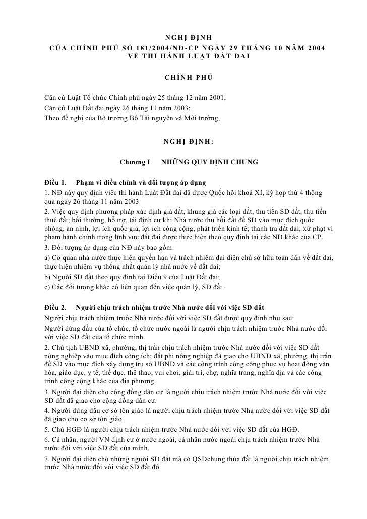 NGH Ị ĐỊNH CỦA CH ÍNH PH Ủ S Ố 181/ 2004/ NĐ -CP N GÀ Y 29 T H ÁN G 10 NĂ M 2004                   VỀ T H I H ÀNH L UẬT ĐẤ...