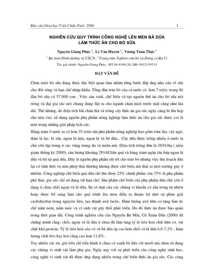 B¸o c¸o khoa häc ViÖn Ch¨n Nu«i 2006                                                 1             Nghiªn cøu quy tr×nh c«...