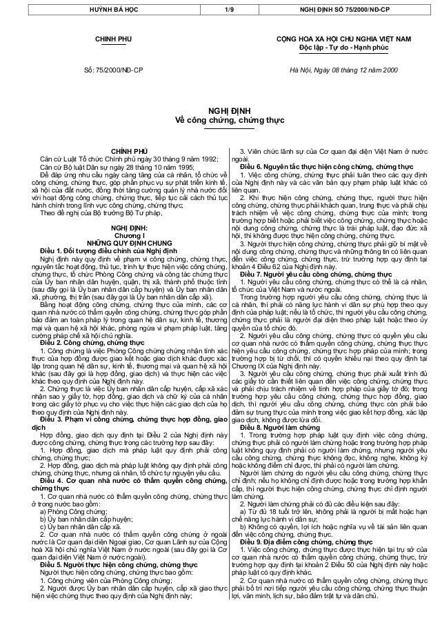 HUỲNH BÁ HỌC 1/9 NGHỊ ĐỊNH SỐ 75/2000/NĐ-CPCHÍNH PHỦSố: 75/2000/NĐ-CPCỘNG HOÀ XÃ HỘI CHỦ NGHĨA VIỆT NAMĐộc lập - Tự do - H...