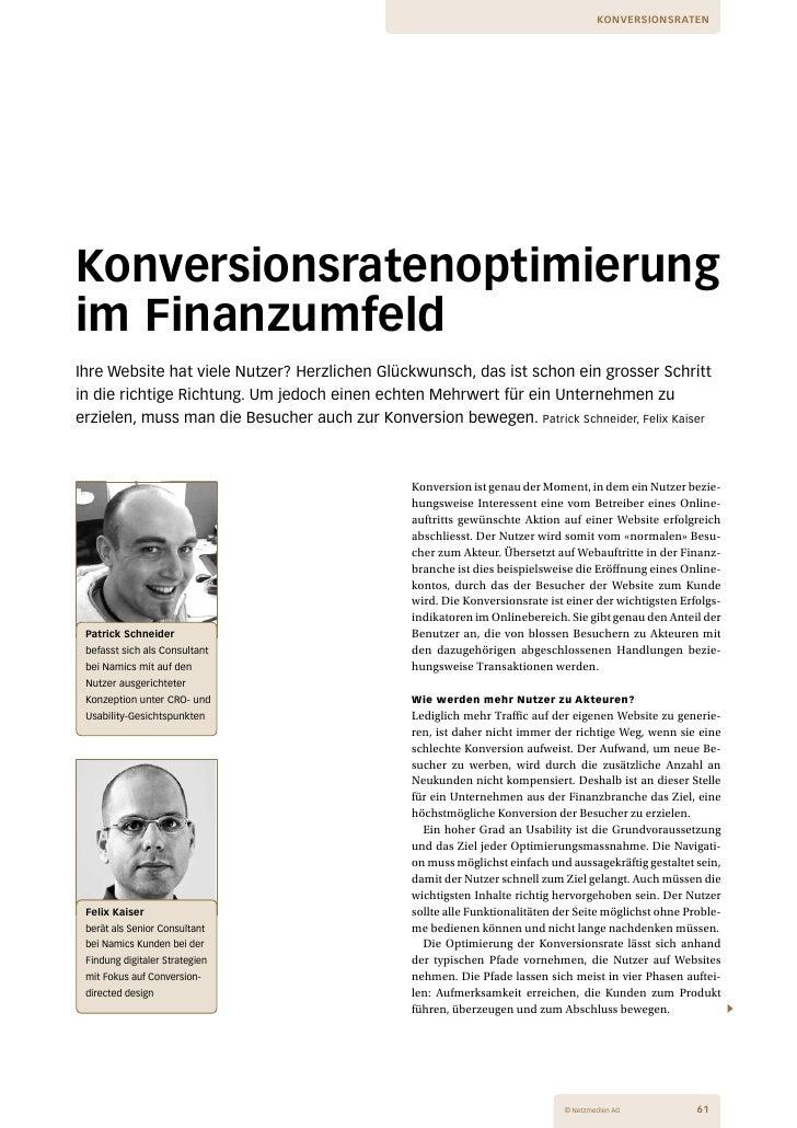 Konversionsraten-Optimierung im Finanzumfeld - Fachbeitrag im Netzguide IT in Finance