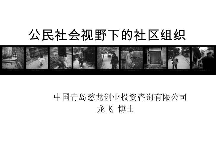 公民社会视野下的社区组织 中国青岛慈龙创业投资咨询有限公司 龙飞 博士