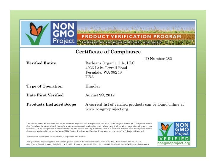 Certificate of Compliance                                                                                                 ...