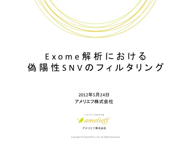 Exome解析における偽陽性SNVのフィルタリング        2012年5月24日       アメリエフ株式会社    Copyright © Amelieff Co. Ltd. All Rights Reserved