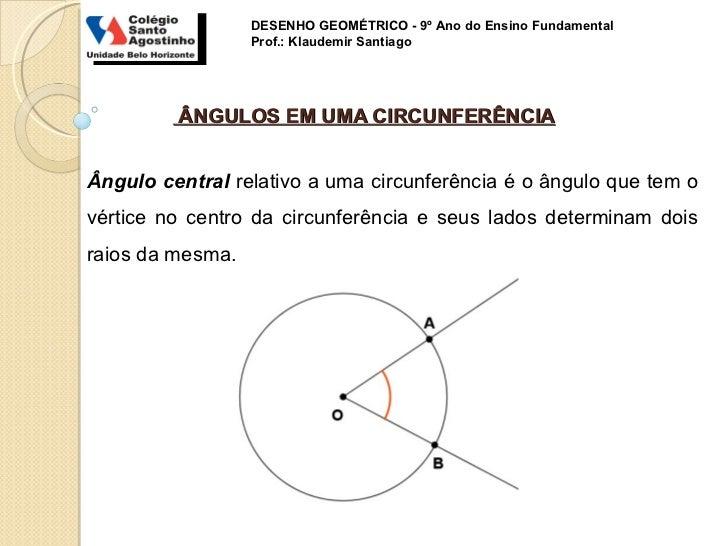DESENHO GEOMÉTRICO - 9º Ano do Ensino Fundamental                  Prof.: Klaudemir Santiago         ÂNGULOS EM UMA CIRCUN...