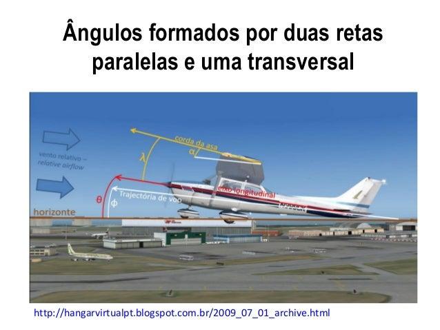 Ângulos formados por duas retasparalelas e uma transversalhttp://hangarvirtualpt.blogspot.com.br/2009_07_01_archive.html