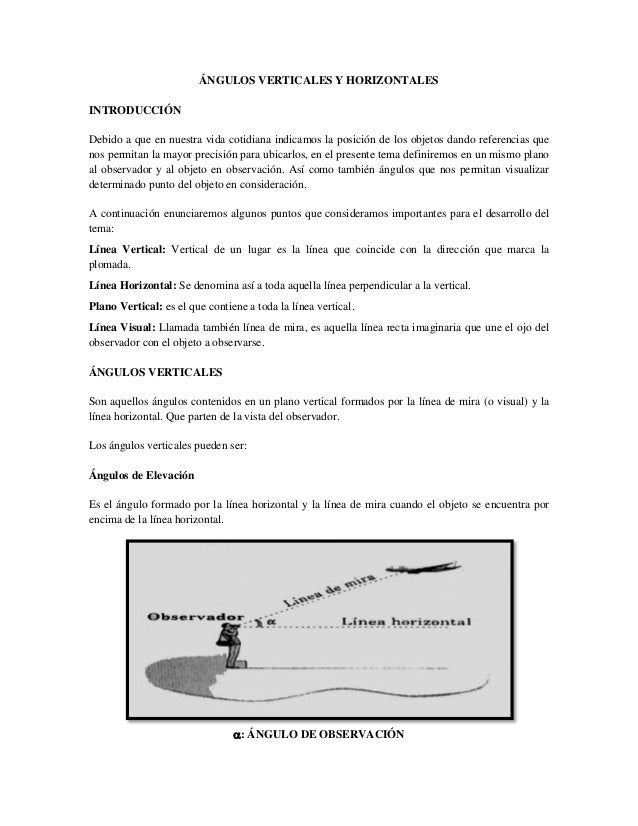 áNgulos verticales y horizontales