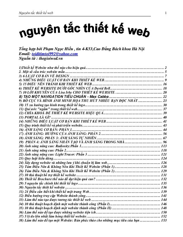 Nguyên tắc của thiết kế web