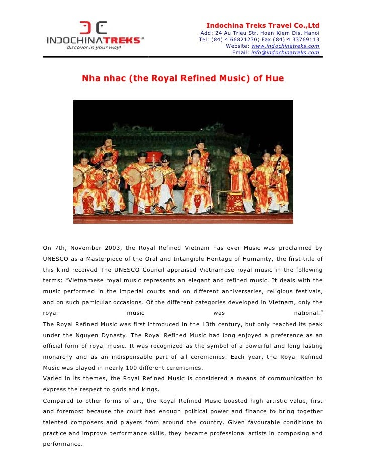Nha nhac (the royal refined music) of hue