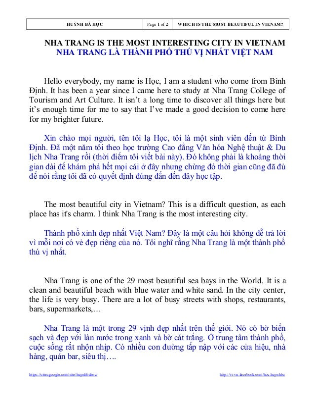 HUỲNH BÁ HỌC  Page 1 of 2  WHICH IS THE MOST BEAUTIFUL IN VIENAM?  NHA TRANG IS THE MOST INTERESTING CITY IN VIETNAM NHA T...