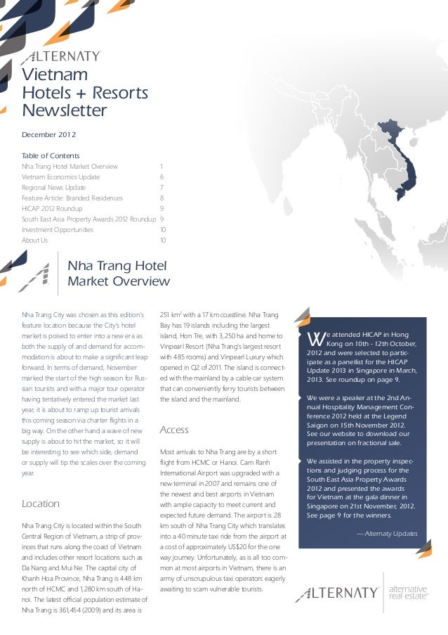 VietnamHotels + ResortsNewsletterDecember 2012Table of ContentsNha Trang Hotel Market Overview                   1Vietnam ...