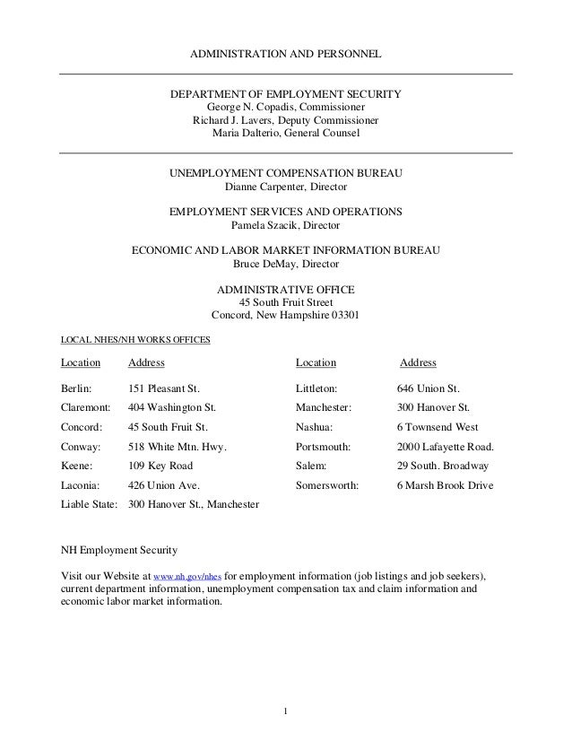 1 ADMINISTRATION AND PERSONNEL DEPARTMENT OF EMPLOYMENT SECURITY George N. Copadis, Commissioner Richard J. Lavers, Deputy...