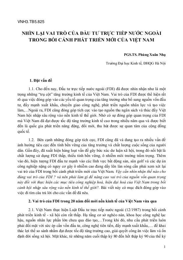 1 VNH3.TB5.825 NHÌN LẠI VAI TRÒ CỦA ĐẦU TƯ TRỰC TIẾP NƯỚC NGOÀI TRONG BỐI CẢNH PHÁT TRIỂN MỚI CỦA VIỆT NAM  PGS.TS. Phùng...