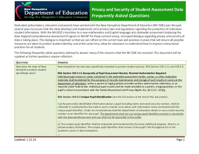 Privacy and Security of Student Assessment Data  Frequently Asked Questions Dedicated policymakers, educators and parents ...