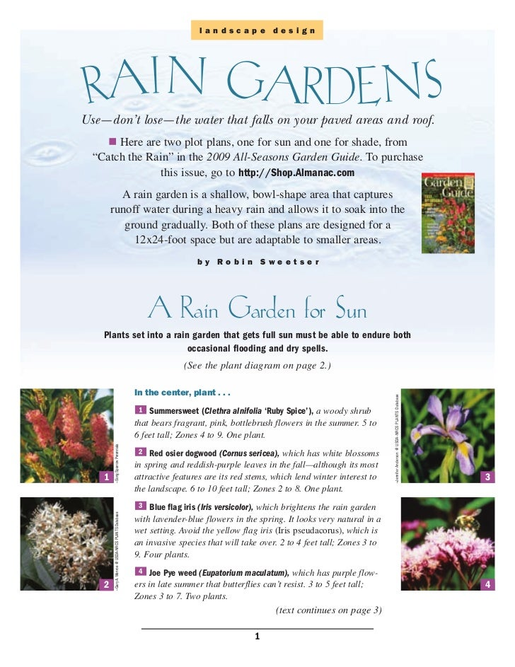 landscape design RAIN GARDENSUse—don't lose—the water that falls on your paved areas and roof.       Here are two plot pla...