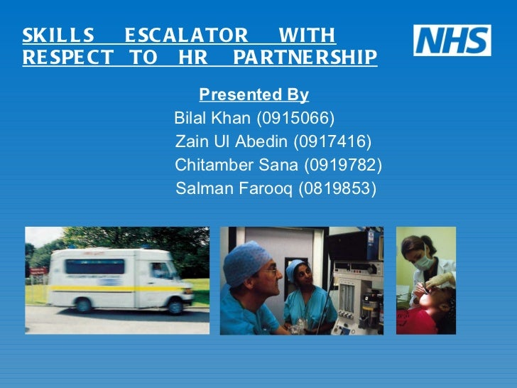 SKILLS  ESCALATOR  WITH RESPECT  TO  HR  PARTNERSHIP <ul><li>Presented By </li></ul><ul><li>Bilal Khan (0915066) </li></ul...