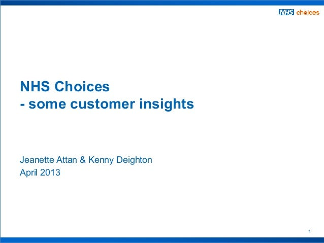 1Jeanette Attan & Kenny DeightonApril 2013NHS Choices- some customer insights