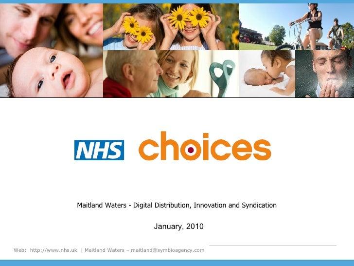 NHS.uk Digital Distribution, Innovation and Syndication (Mobile / Widget) JAN 2010