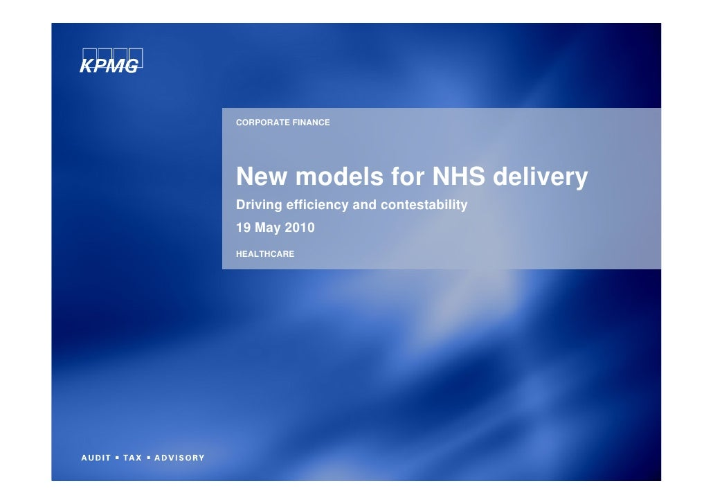 New models for NHS delivery