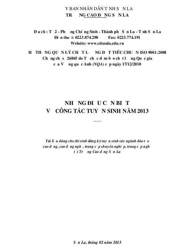 ỦY BAN NHÂN DÂN TỈNH S ƠN LA                  TRƯỜNG CAO ĐẲNG SƠN LA  Địa chỉ: Tổ 2 - Phường Chiềng Sinh - Thành phố Sơn L...