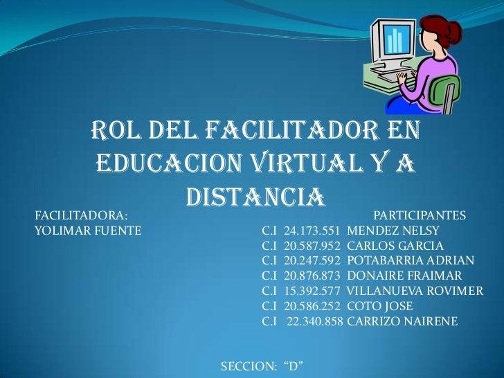 ROL DEL FACILITADOR EN EDUCACION VIRTUAL Y A DISTANCIA<br />FACILITADORA:                                                 ...