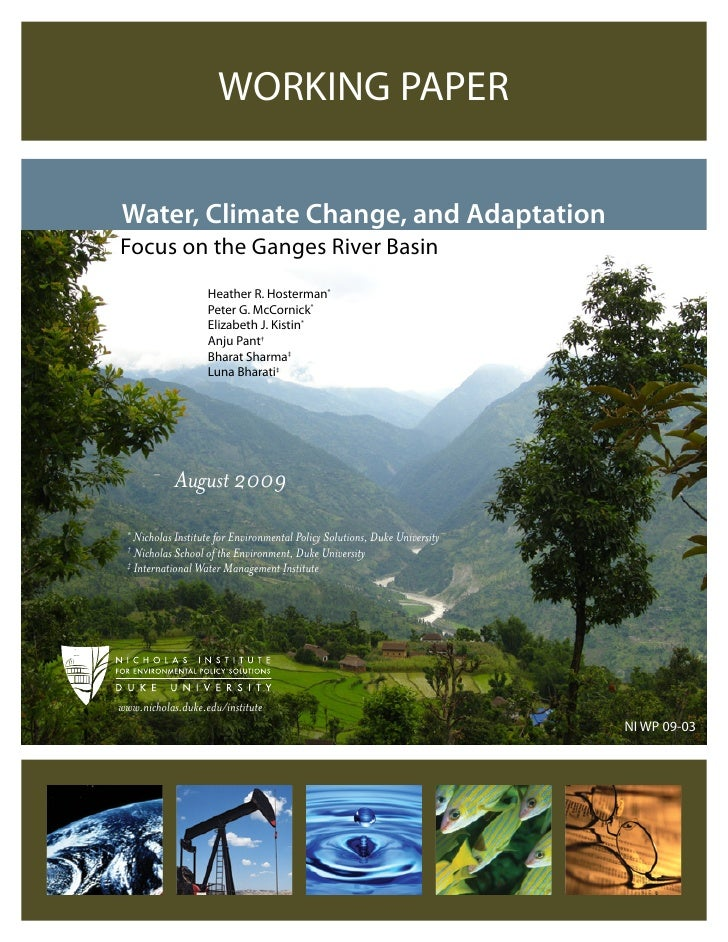 India;  Water, Climate Change, and Adaptation in the Ganges River Basin