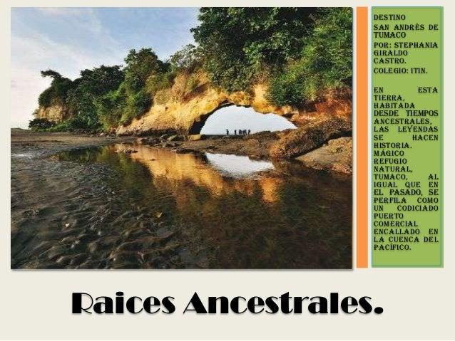 DESTINO San Andrés de TUMACO Por: stephania giraldo castro. Colegio: ITIN. En esta tierra, habitada desde tiempos ancestra...