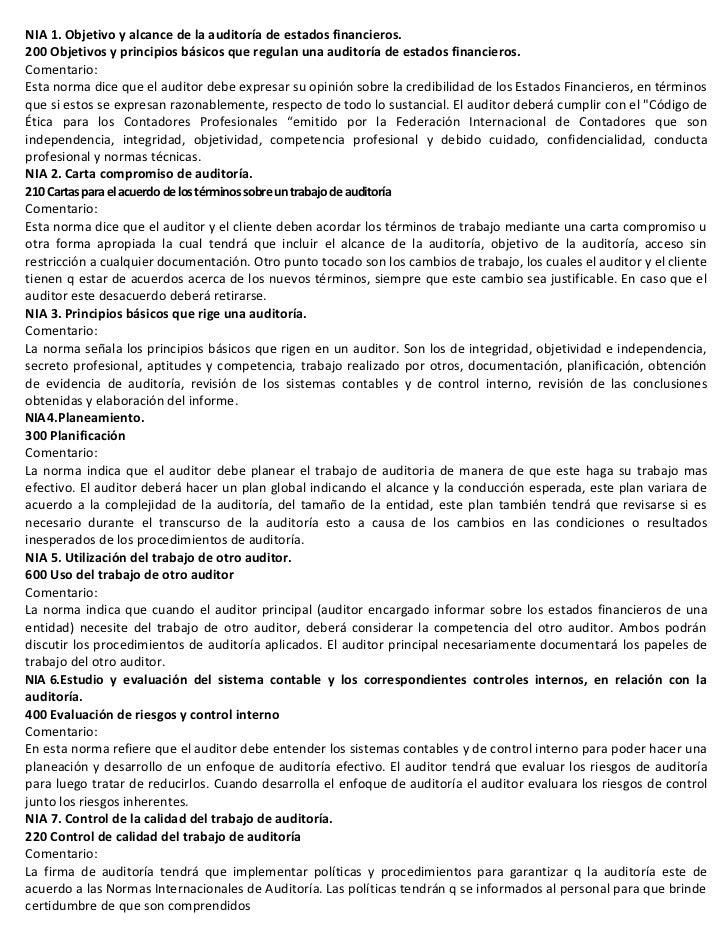 NIA 1. Objetivo y alcance de la auditoría de estados financieros.200 Objetivos y principios básicos que regulan una audito...
