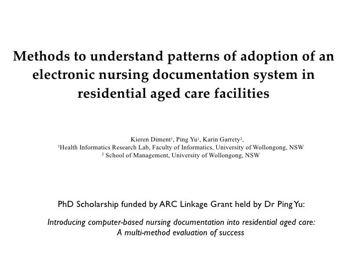 Methods to understand patterns of adoption of an electronic nursing documentation system in residential aged care facilities