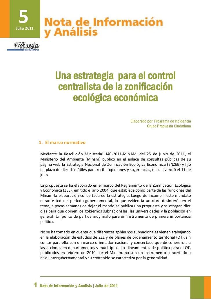 5Julio 2011                          Una estrategia para el control                           centralista de la zonificaci...