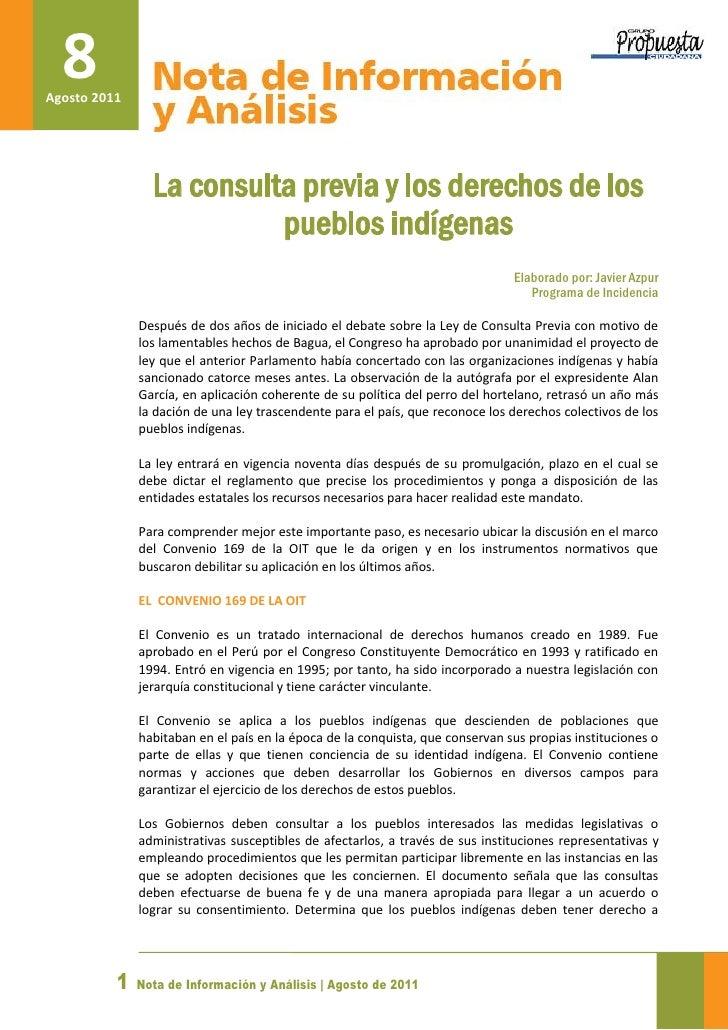 8Agosto 2011                La consulta previa y los derechos de los                          pueblos indígenas           ...