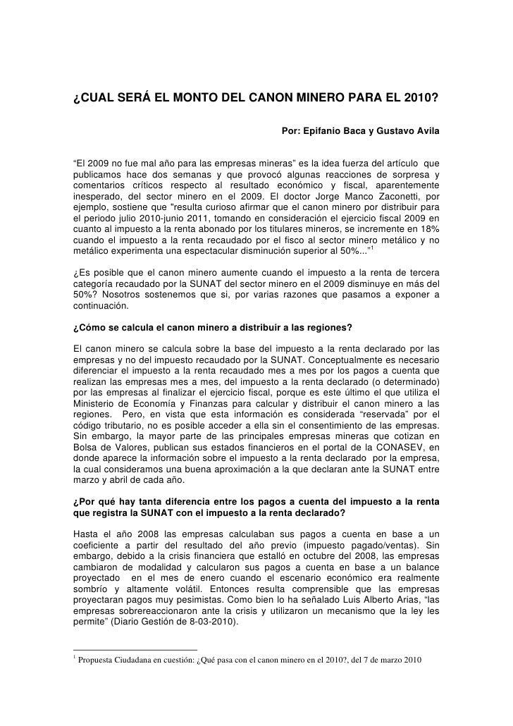 ¿CUAL SERÁ EL MONTO DEL CANON MINERO PARA EL 2010?