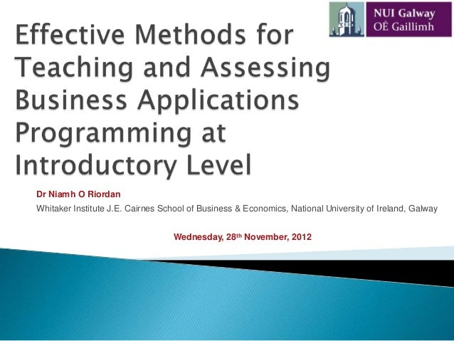 Effective Methods for Teaching and Assessing Business Applications Programming at Introductory Level