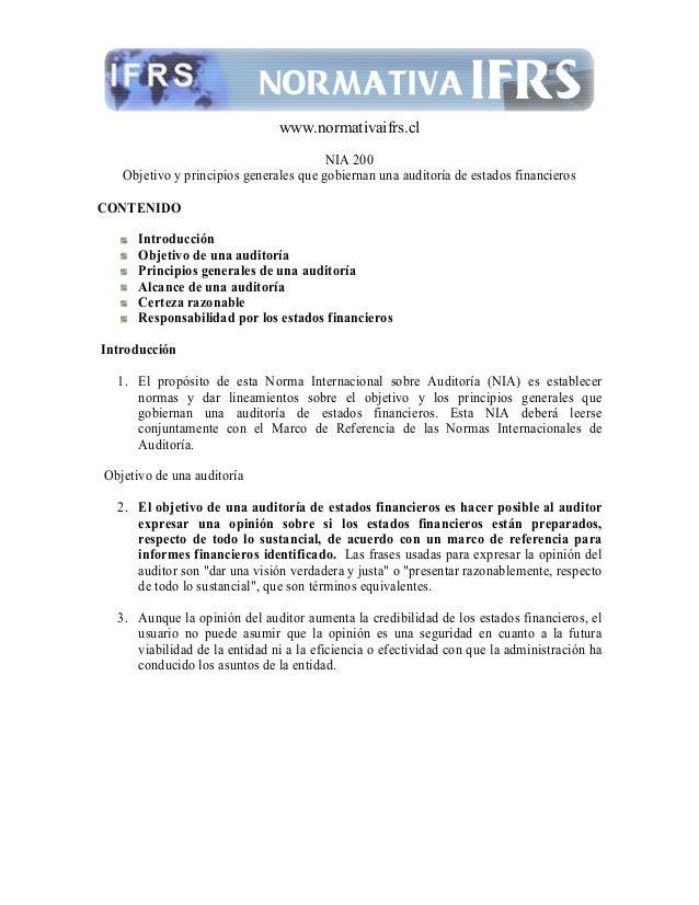 www.normativaifrs.clNIA 200Objetivo y principios generales que gobiernan una auditoría de estados financierosCO TE IDOIntr...