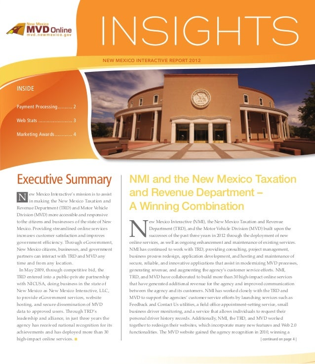 NEW MEXICO INTERACTIVE REPORT 2012INSIDEPayment Processing.. .......... 2Web Stats.......................... 3Marketing Aw...