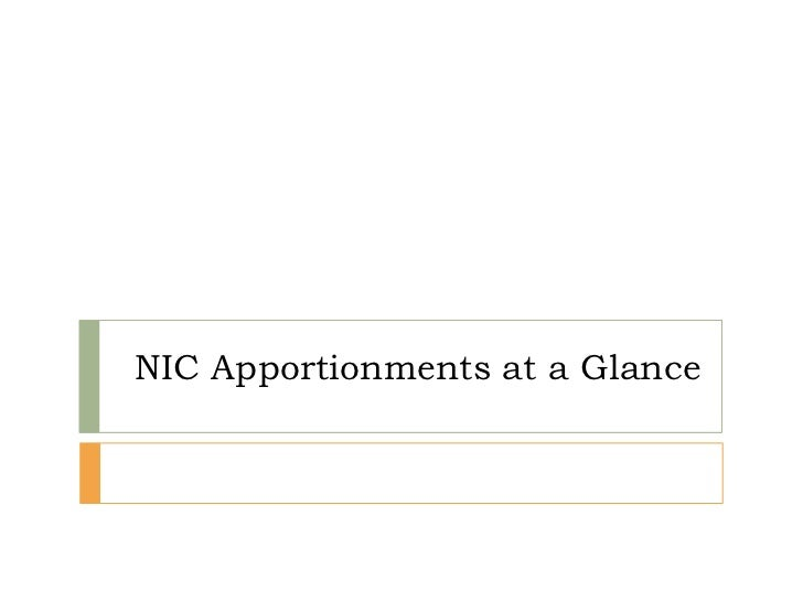 Nic apportionments at a glance