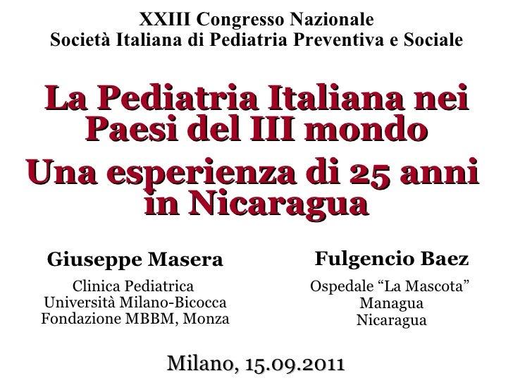La Pediatria Italiana nei Paesi del III mondo – Una esperienza di 25 anni in Nicaragua